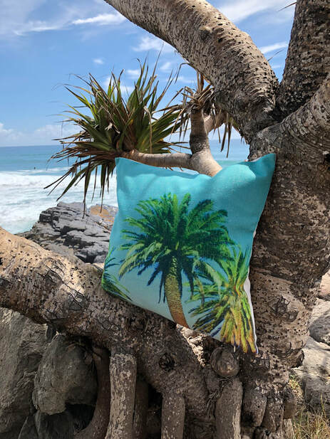 d77d03bf6 Colour: BLUE/GREEN: Island Date Palm - instant tropics on linen $23.00 1  left! more stock soon